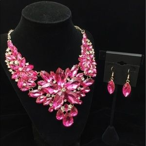 Cherryl's Jewelry - Pink Fuchsia Crystal Statement Set Prom Party Wed
